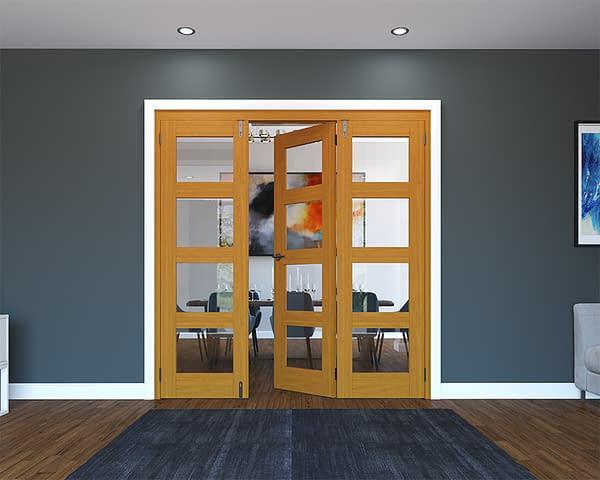 3 Door Fully Finished Oak 4 Light Folding French Doors - Half Open