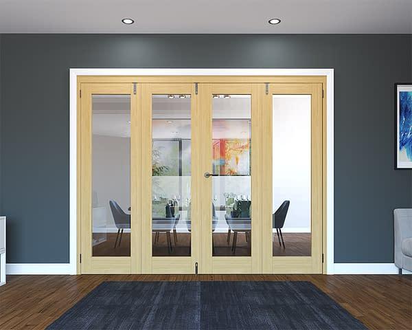 4 Door Unfinished Oak Folding French Doors - Closed