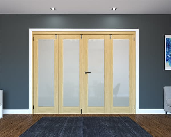 4 Door Unfinished Oak Frosted Folding French Doors - Closed