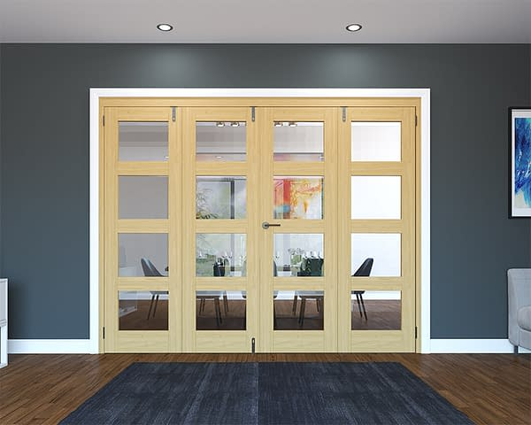 4 Door Unfinished Oak 4 Light Folding French Doors - Closed