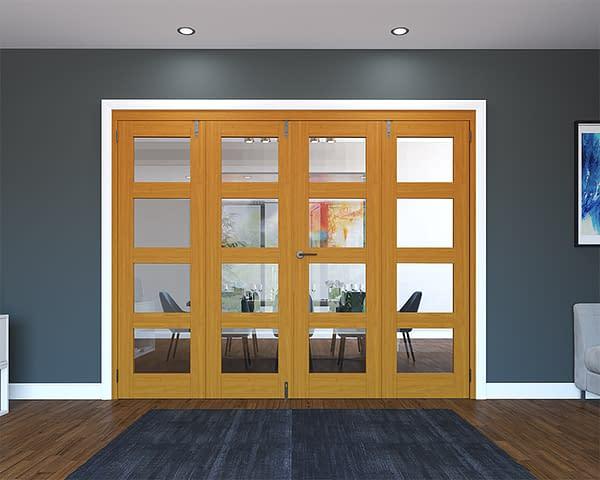 4 Door Fully Finished Oak 4 Light Folding French Doors - Closed