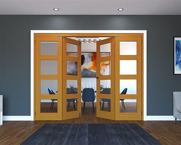 4 Door Fully Finished Oak 4 Light Folding French Doors - Half Open