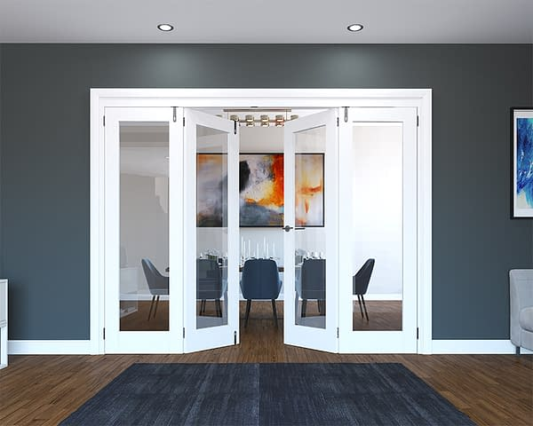 4 Door White Primed 1 Light Folding French Doors - Half Open