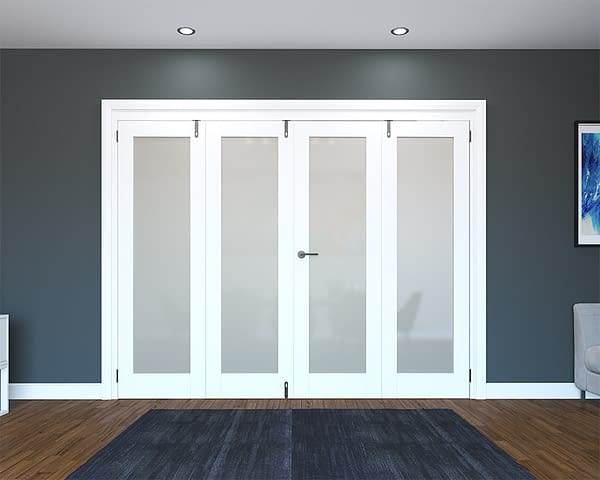 4 Door White Primed 1 Light Frosted Folding French Doors - Closed