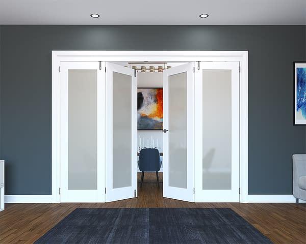 4 Door White Primed 1 Light Frosted Folding French Doors - Half Open
