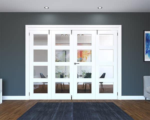 4 Door White Primed 4 Light Folding French Doors - Closed