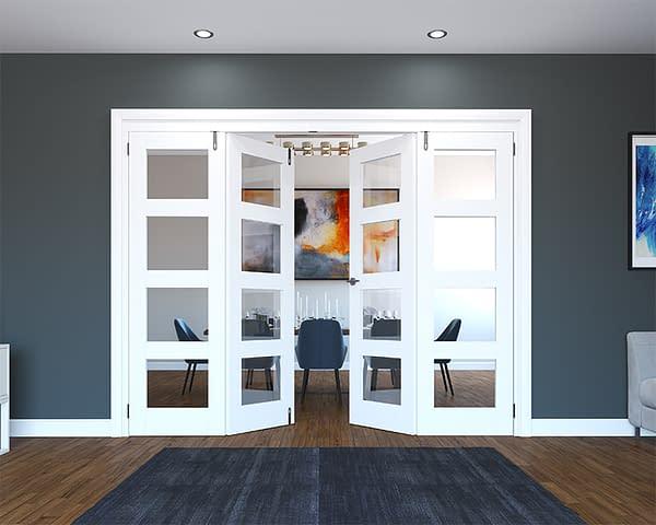 4 Door White Primed 4 Light Folding French Doors - Half Open