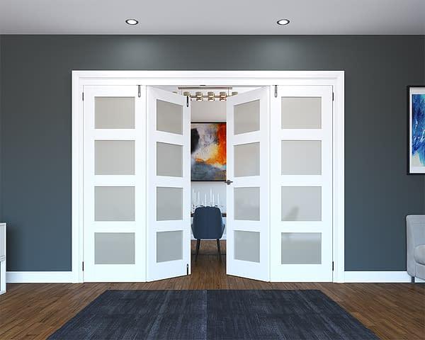 4 Door White Primed 4 Light Frosted Folding French Doors - Half Open