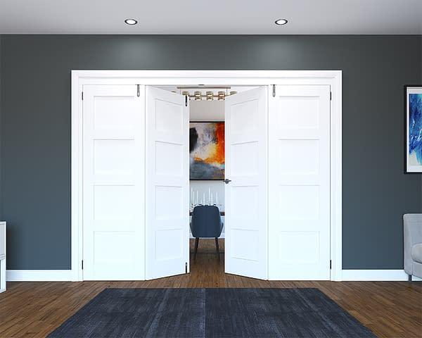 4 Door White Primed 4 Panel Folding French Doors - Half Open