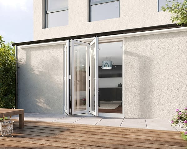 1800mm Revere White Aluminium 3+0 Bifold Doors - Open Shot