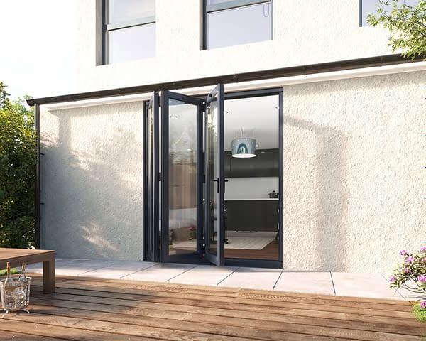 1800mm Revere Grey Aluminium 3+0 Bifold Doors - Open Shot
