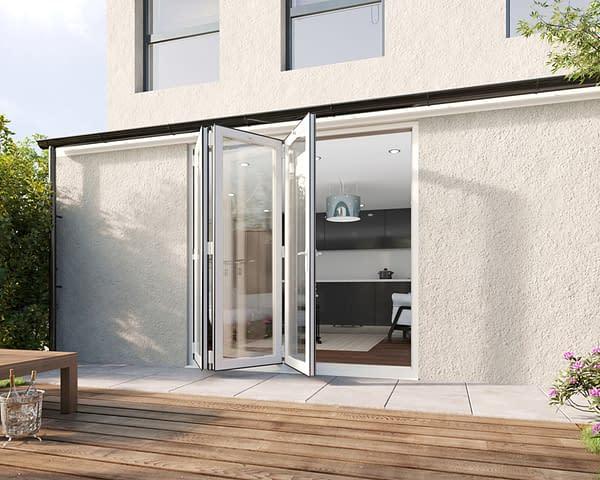 2100mm Revere White Aluminium 3+0 Bifold Doors - Open Shot