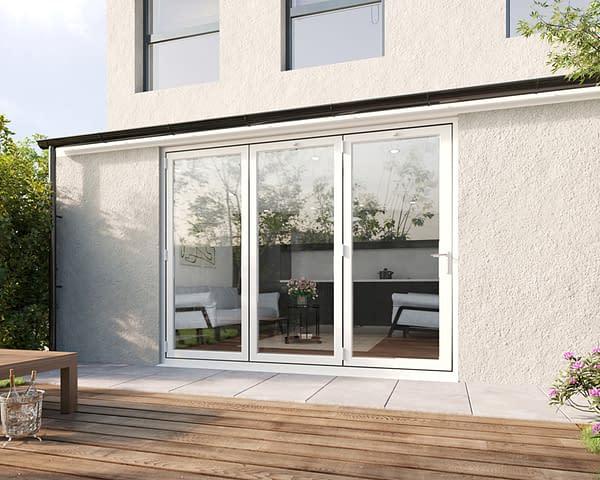 2700mm Revere White Aluminium 3+0 Bifold Doors - Closed Shot