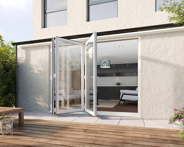 2700mm Revere White Aluminium 3+0 Bifold Doors - Open Shot