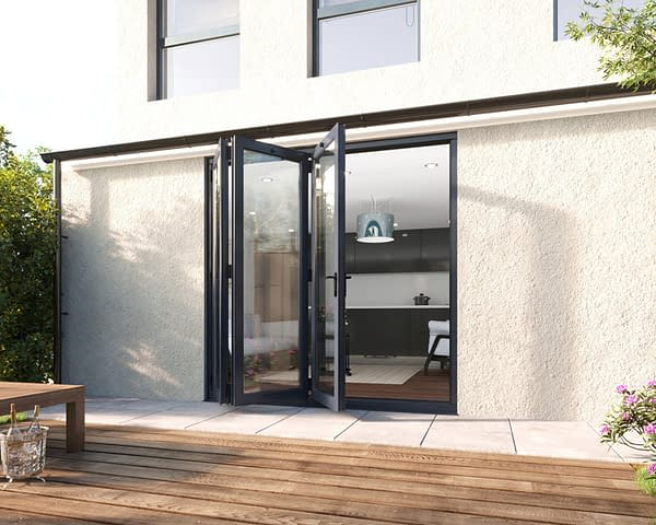 2100mm Revere Grey Aluminium 3+0 Bifold Doors - Open Shot