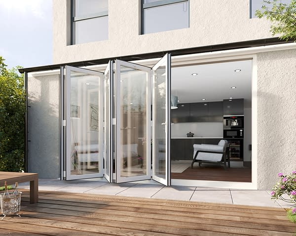 3600mm Revere White Aluminium 5+0 Bifold Doors - Open Shot