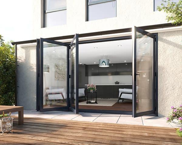 3600mm Revere Grey Aluminium 3+1 Bifold Doors - Open Shot