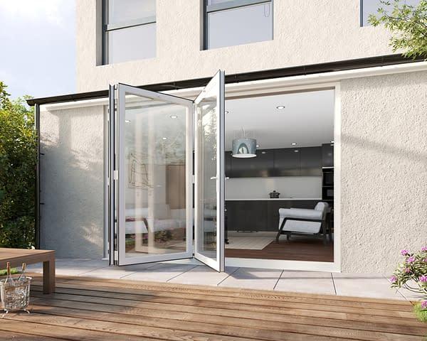 3000mm Revere White Aluminium 3+0 Bifold Doors - Open Shot