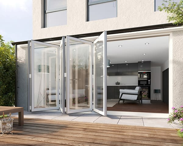 4200mm Revere White Aluminium 5+0 Bifold Doors - Open Shot