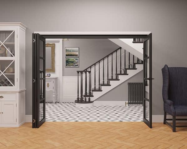 4 Door Vision Heritage 4 Light Internal Bifold - Open