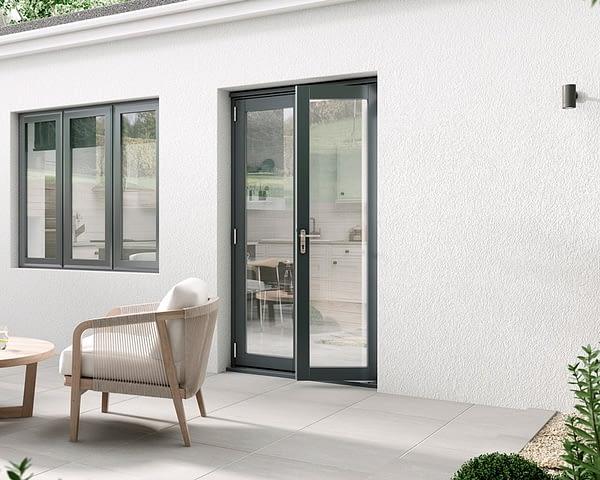 1200mm Aspect Grey French Doors - Open