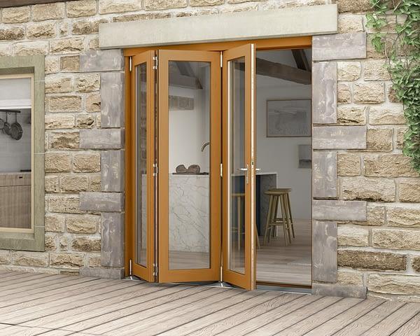 1800mm Icon Oak Fully Finished 3+0 External Bifold - Open