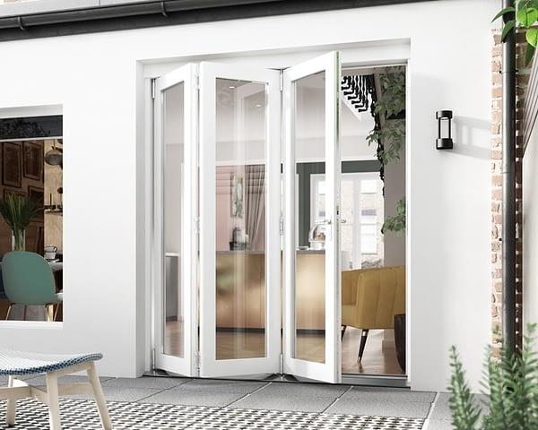 1800mm Icon White 3+0 Bifold Doors - Open