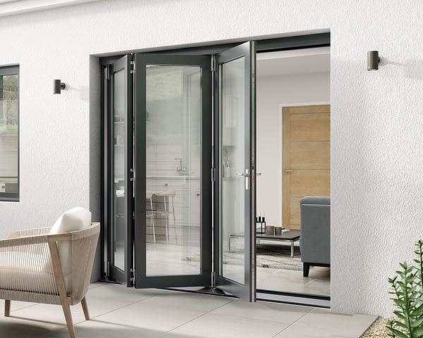 2100mm Aspect Grey 3+0 Bifold Doors - External Shot