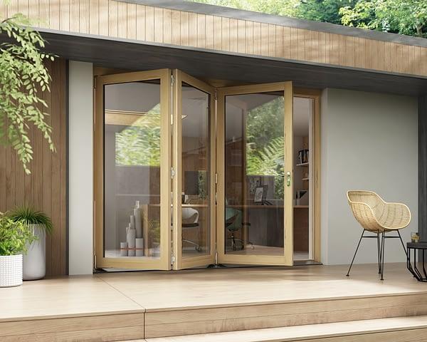 2700mm Horizon Unfinished 3+0 Bifold Doors - Open