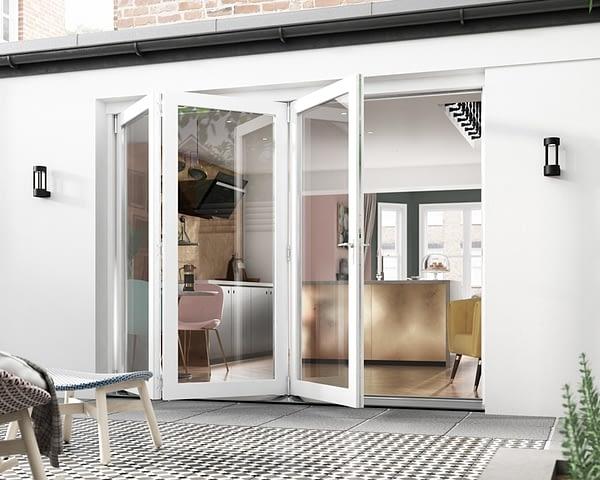 2700mm Icon White 3+0 Bifold Doors - Open