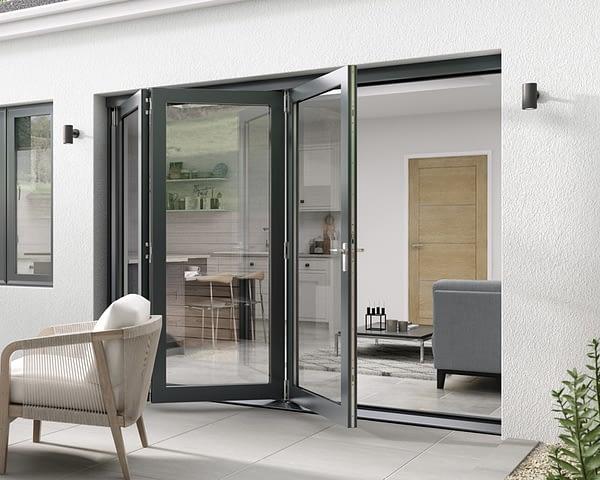 2700mm Aspect Grey 3+0 Bifold Doors - External Shot