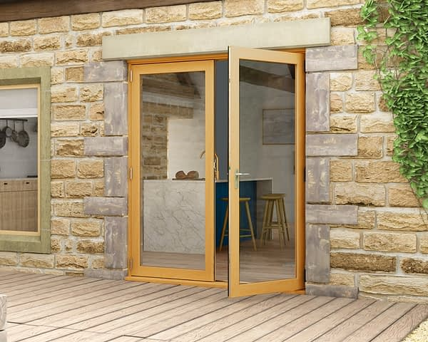1800mm Evolve Oak Fully Finished French Doors - Open