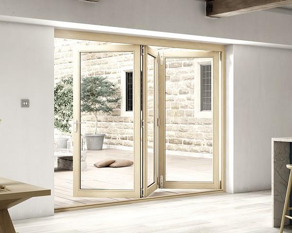 2700mm Icon Oak Part Q Compliant 3+0 Bifold Doors - Open
