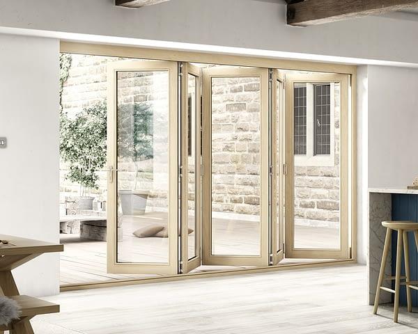 3600mm Icon Oak Part Q Compliant 5+0 Bifold Doors - Open