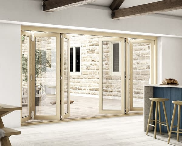 4200mm Icon Oak Part Q Compliant 3+3 Bifold Doors - Open