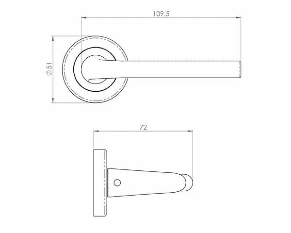 Dieci Polished Nickel Internal Door Handle on Round Rose - Drawing