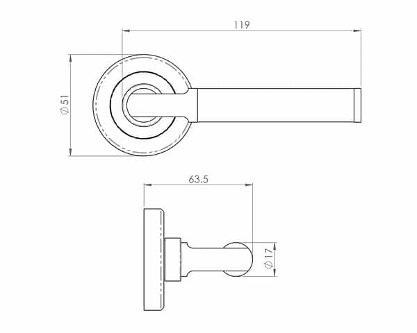 Sessanta Polished and Satin Nickel Internal Door Handle on Round Rose - Drawing
