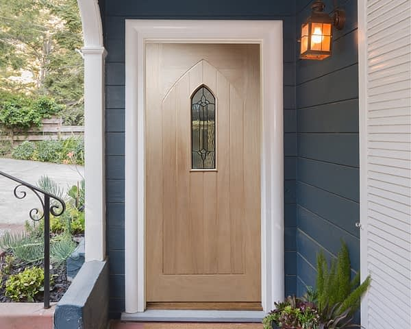 Westminster Unfinished Oak External Front Door - Installed