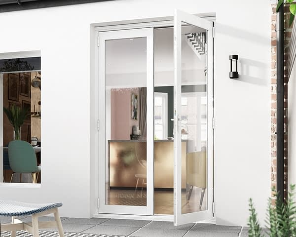 1200mm Icon White French Doors External