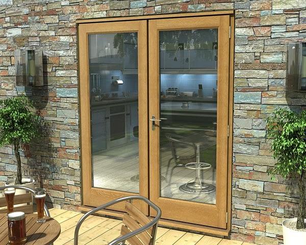 1800mm Esteem Oak Unfinished French Doors - External Shot