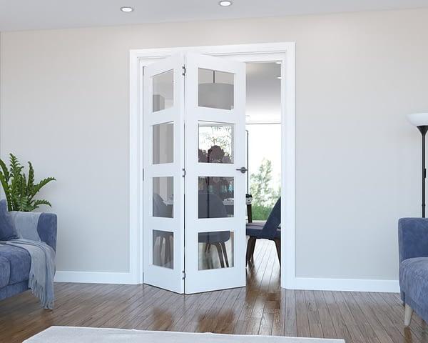 2 Door Vision White Primed 4 Light Internal Bifold - Open