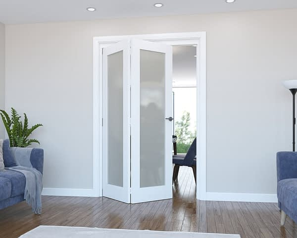 2 Door Vision White Primed Frosted Internal Bifold - Open