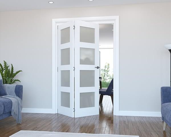 2 Door Vision White Primed 4 Light Frosted Internal Bifold - Open
