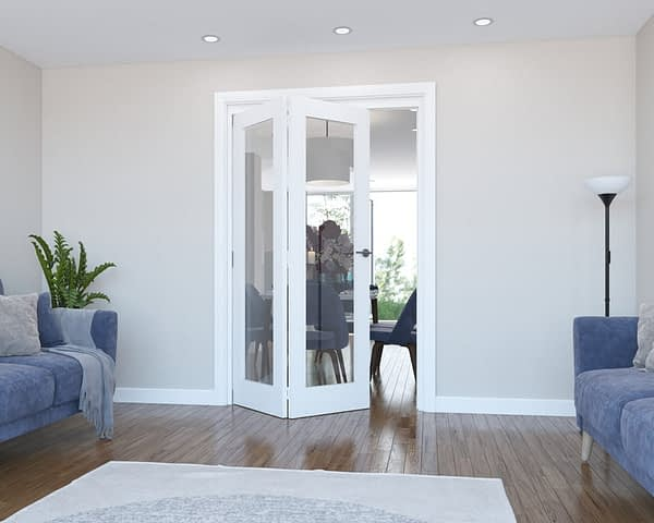 2 Door Vision White Primed Internal Bifold - Open