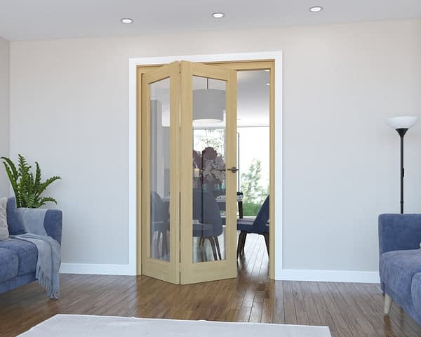 2 Door Vision Unfinished Oak Internal Bifold - Open