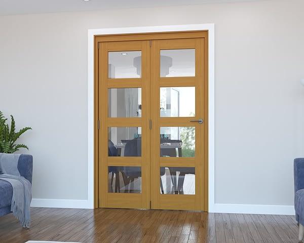 2 Door Vision Fully Finished Oak 4 Light Internal Bifold - Closed
