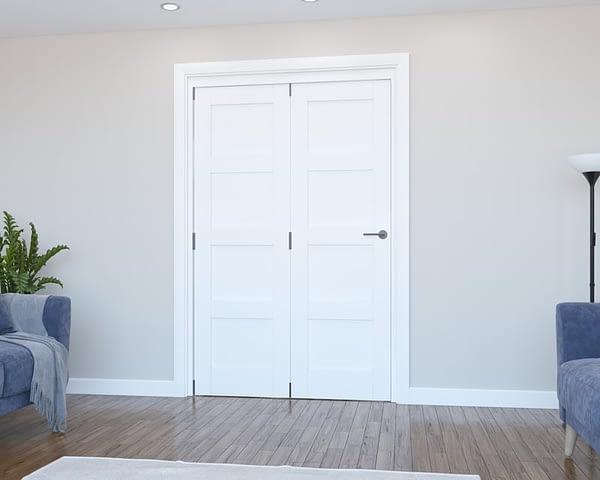 2 Door Vision White Primed 4 Panel Internal Bifold - Closed