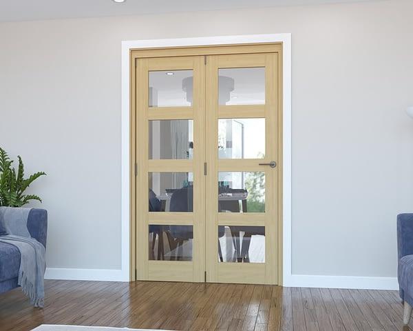 2 Door Vision Unfinished 4 Light Oak Internal Bifold - Closed