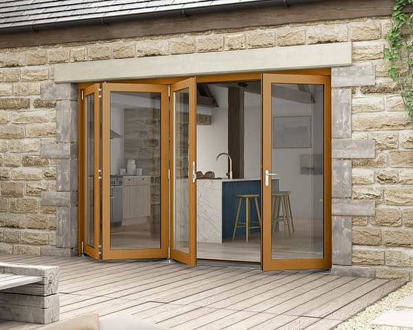 3000mm Icon Solid Oak Fully Finished Bifold - External Shot