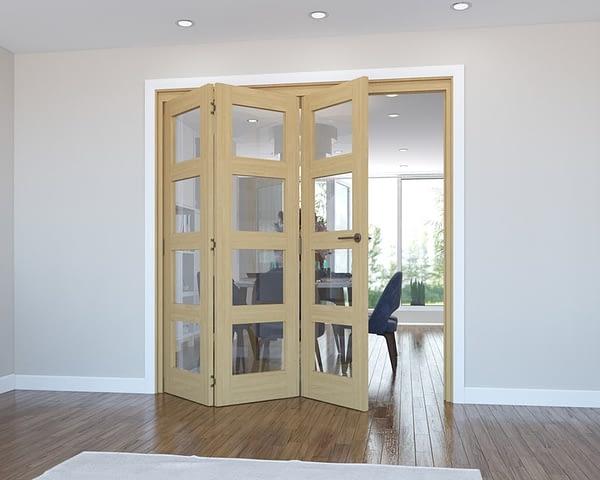 3 Door Vision Unfinished 4 Light Oak Internal Bifold - Open